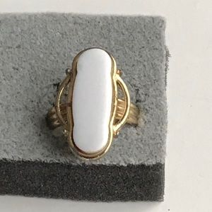Vintage Emmons Women Ring, Gold White Stone